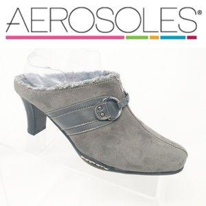 Aerosoles Gray Slip On Leather Mules Fur Heels 8.5
